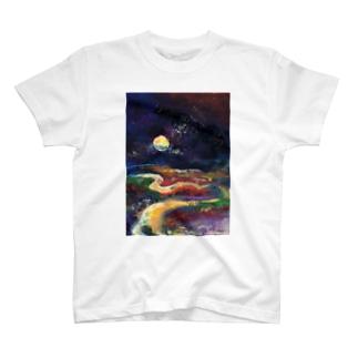月夜の釧路湿原 T-shirts
