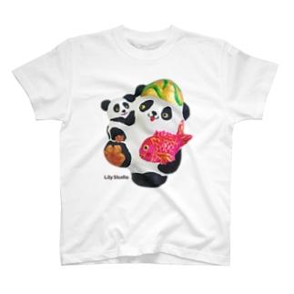 あっぱれ恵比寿パンダ親子 T-shirts