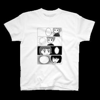 げーむやかんの白黒漫画調withげーむやかん T-shirts