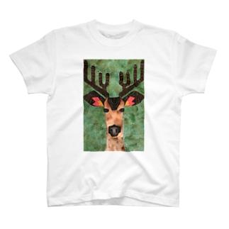 鹿が覗いているシリーズ T-shirts