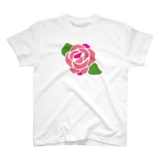 バラ(ピンク) T-shirts