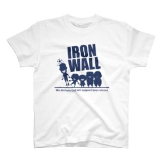 ジュニアサッカーサポーターの「鉄壁の壁」ネイビー T-shirts