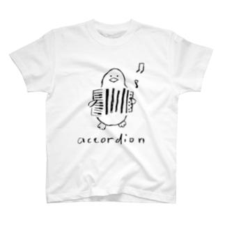 アコーディオン ペンギン T-shirts