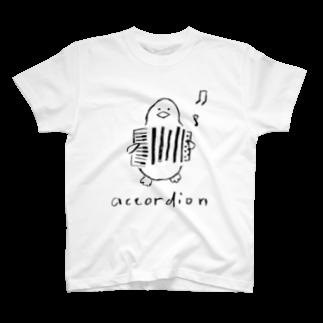 ペンギン雑貨店「ペンギンと。」のアコーディオン ペンギン T-shirts