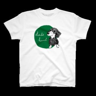iccaのダックスフント green T-shirts