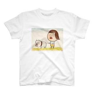 犬とお散歩 withクリームbuhi T-shirts