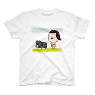 犬とお散歩 with黒buhi T-shirts