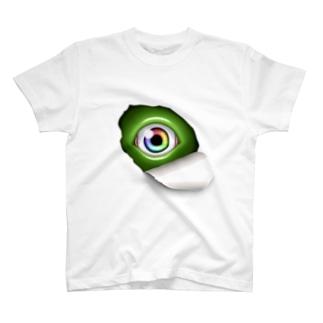 覗き込む瞳(緑) T-shirts