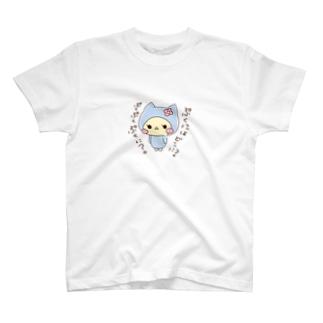 ぷくもり  blue T-shirts