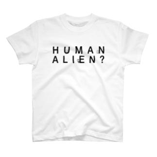 HUMAN  ALIEN? T-shirts