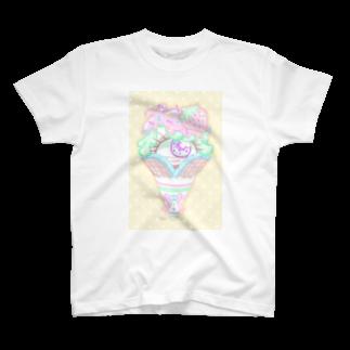 はまくそゆうきちの単眼ちゃんショップ👁💜💛のアイスクリーム単眼ちゃん T-shirts