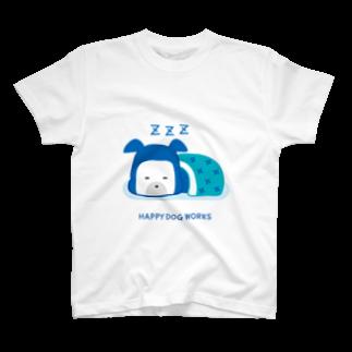 HAPPYDOG製作所@SUZURI支店のHAPPY DOG WORKS 忍者_すやすや Tシャツ