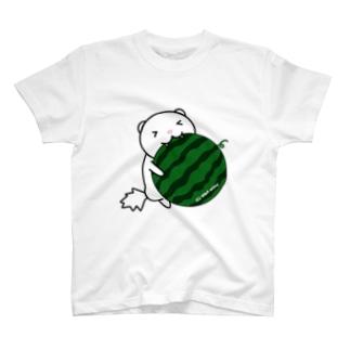 スイカにがぶりっフェレット(ホワイトブラックアイ) T-shirts