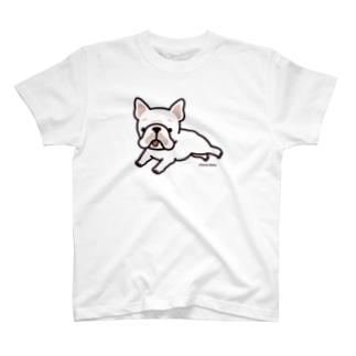 走るフレンチブルドッグ(クリーム) Tシャツ