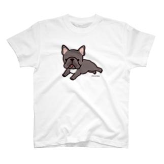 走るフレンチブルドッグ(ブリンドル) Tシャツ