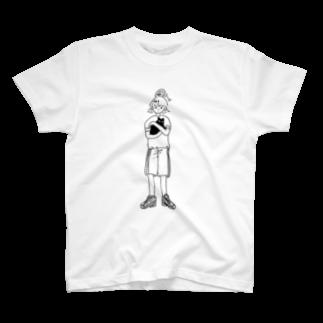 窓の猫を抱く(線) Tシャツ