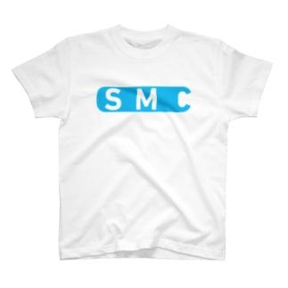 白と水色のカーネーション(ロゴB柄) T-shirts