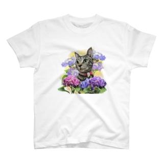 きなこの紫陽花とミウちゃん T-shirts