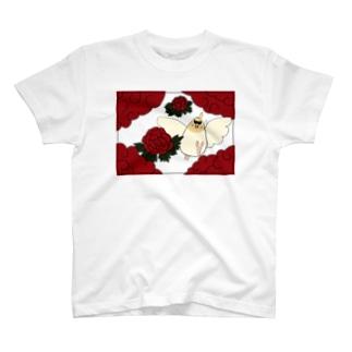 花札「牡丹とオカメ」 Tシャツ