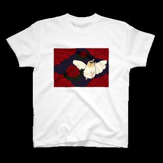 シマエナガの「ナガオくん」公式グッズ販売ページの花札「牡丹とオカメ」 T-shirts