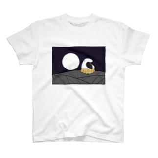 花札「月とシマエちゃん」 Tシャツ