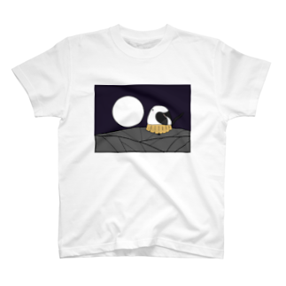 シマエナガの「ナガオくん」公式グッズ販売ページの花札「月とシマエちゃん」 T-shirts
