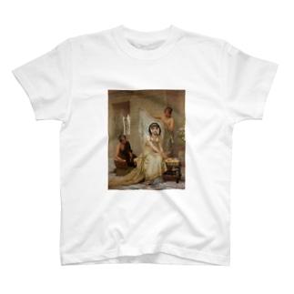 女子高生風 エドウィン・ロングの絵画Tシャツ(ツインテール) T-shirts