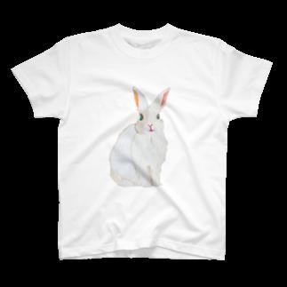 清水沙羅の刺繍糸のうさぎ T-shirts