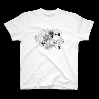木村いこの猫よけペットボトルの研究をするネコ Tシャツ
