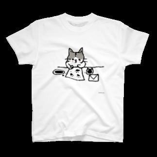 ほっかむねこ屋@ 3/9--3/16 吉祥寺駅のおてがみねこ Tシャツ