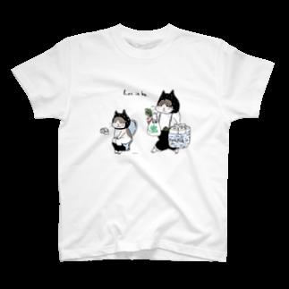 ほっかむねこ屋@ 3/9--3/16 吉祥寺駅の買い物ねこ・トイレねこ Tシャツ