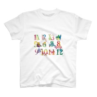 12の月の動物たち T-shirts