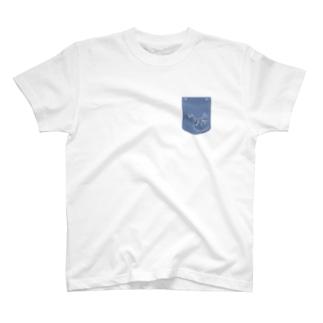 フェイクポケット ねこ T-shirts