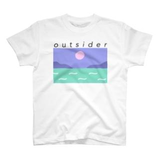 黒字アウトサイダー  T-shirts