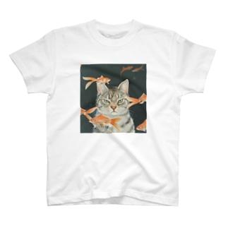金魚と猫 T-shirts