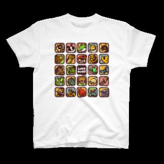 虫デフォルメ作家🐝akariの【Love Bugs】むしアイコン T-shirts