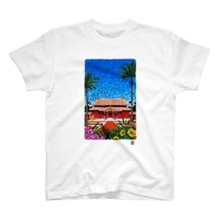 「きらめく首里城」琉球デジタル版画 TY0005D T-shirts