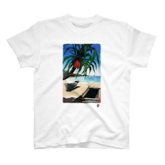 「あだんとサバニ」琉球デジタル版画 TY0061D T-shirts