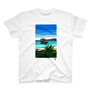 「牛車と美ら海」琉球デジタル版画Tシャツ TY0081D T-shirts