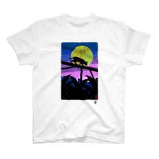 「月影の猫」琉球デジタル版画Tシャツ TY0082D T-shirts