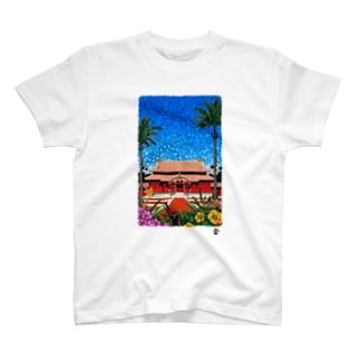 「首里城きらめく」琉球デジタル版画Tシャツ TY0085D T-shirts