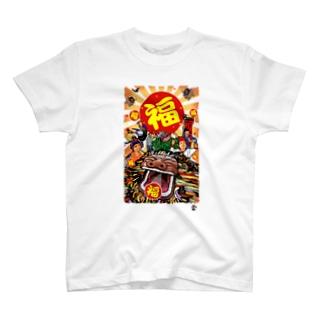 「福獅子」琉球デジタル版画Tシャツ TY0093D T-shirts