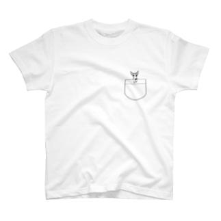 上からひょっこりイタグレさくらちゃん T-shirts