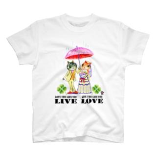 「猫の結婚式に素敵な言葉」琉球絵物語 ST002T T-shirts