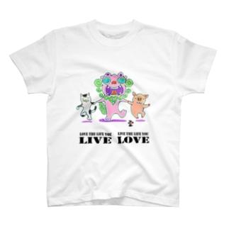 「シーサーと仲間たち+素敵な言葉」琉球絵物語 ST028 T-shirts