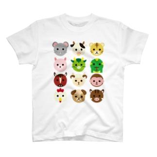 干支丸-十二支-animal up-アニマルアップ- T-shirts