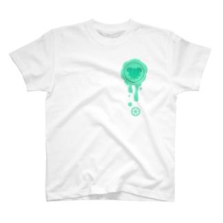 チョコ好きさんへ♪【チョコミント】healing-honey蝋封風ロゴモチーフ T-shirts