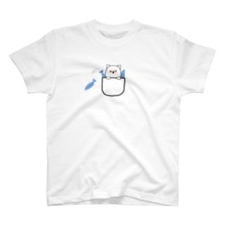 猫の魚釣り T-shirts