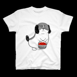 マツバラのもじゃまるお見舞い 白黒 T-shirts