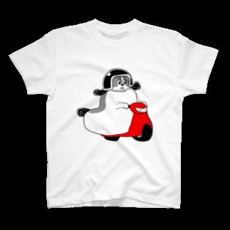 マツバラのもじゃまるバイク移動 白黒 T-shirts